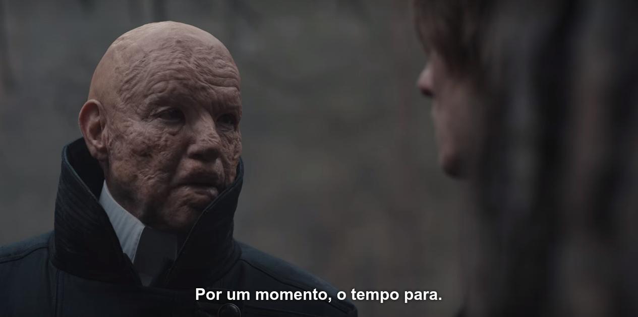 Cena de T03E08 com Adão dizendo a Jonas, logo na saída das cavernas, no mundo de Eva: 'Por um momento, o tempo para'.