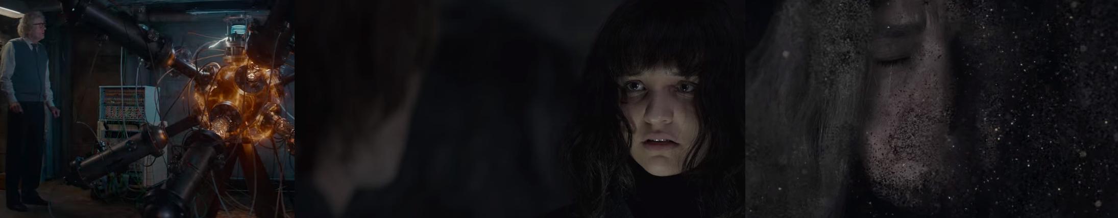 Capturas de tela de diferentes momento da série: quando Tannhaus liga a máquina (T03E08), quando Jonas é levado por Martha para o mundo de Eva (T03E01) e quando Claudia desaparece, junto com os dois mundos (T03E08).