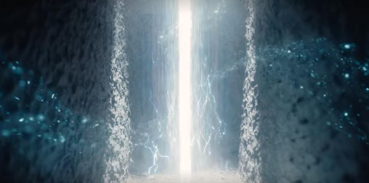 Captura de tela de T03E08, com um raio de luz no túnel nas cavernas de Winden.