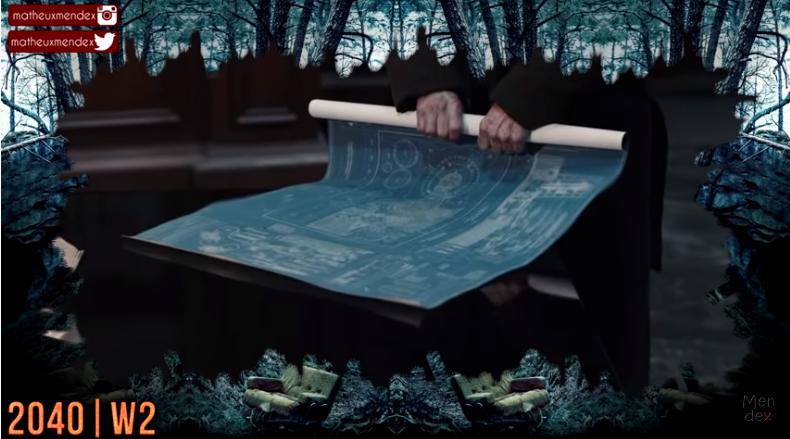 Captura de tela de um vídeo do Youtube, mostrando os planos para a máquina de viagens no tempo do universo de Adão.